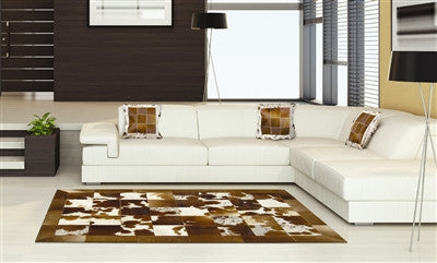 Rugs - Patchwork Squares Hide Rug - Saddle Brown