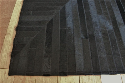 Rugs - Patterned Stripe Hide Rug - Black