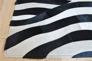 Rugs - Zebra Stipe Hide Rug - Black & Cream