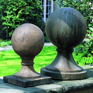 Small Square Base Sphere Sculpture - Aged Limestone Patina