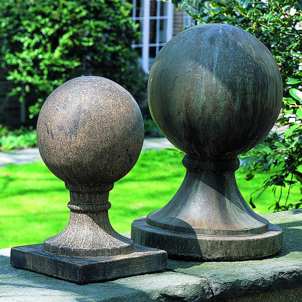 Large Round Base Sphere Sculpture - Weathered Copper Patina