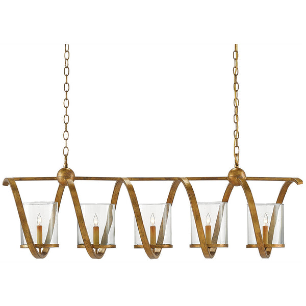 Currey and Company Spiral Linear Chandelier – Distressed Gold Leaf