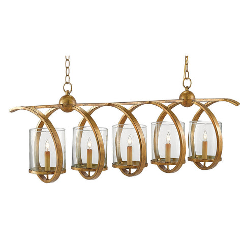 Spiral Linear Chandelier – Distressed Gold Leaf