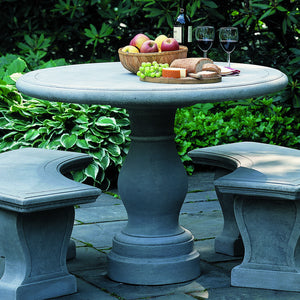 Cast Stone Pedestal Table – Grey Stone Patina