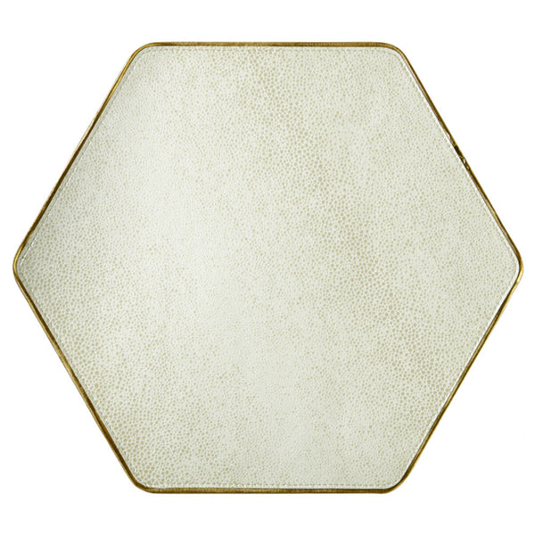 Table Linens - Bone Shagreen Hex Placemat With Gold Trim — Set Of 4