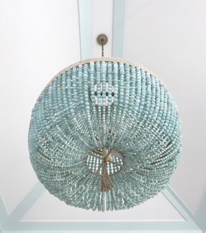 "30"" Malibu Beaded Chandelier with Arms – Turquoise Jade Beads"