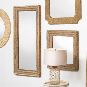 Evergreen Rectangle Mirror in Natural Braided Seagrass