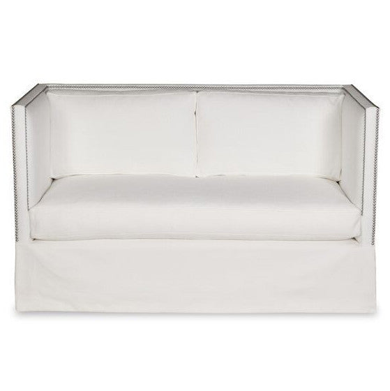 Modern High Back Loveseat -  White Linen (Other Colors Available)