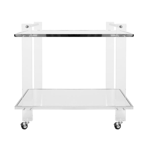 Worlds Away 2 Tier Clear Acrylic Bar Cart with Mirror Shelves - Nickel