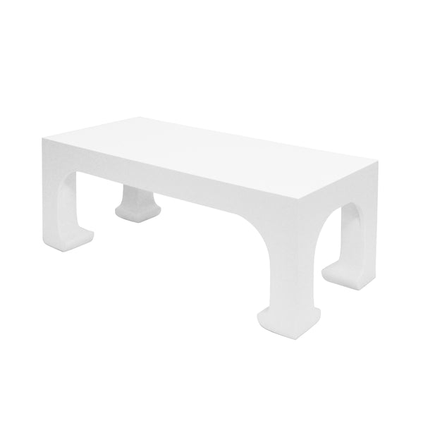 Worlds Away Pagoda Style Coffee Table – White Lacquer