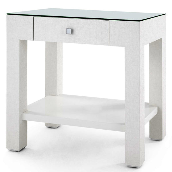Bungalow 5 Lacquered Grasscloth 1-Drawer Accent Table – White