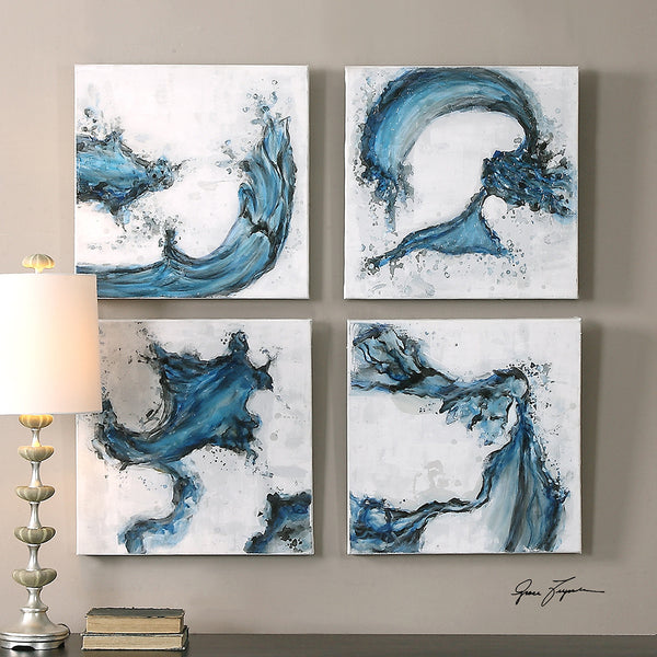 Wall Art - Abstract Blue Swirls Wall Art - Set Of 4