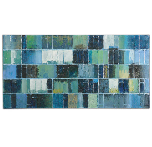Wall Art - Blue And Green Tiles Artwork