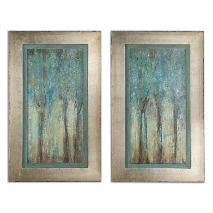 Wall Art - Blue Trees Framed Wall Art Painting - Set Of 2