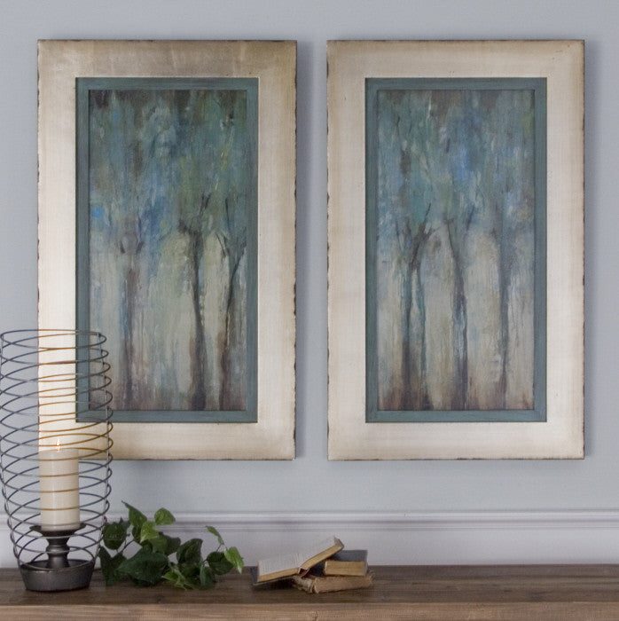 Blue Trees Framed Wall Art Painting Set Of 2