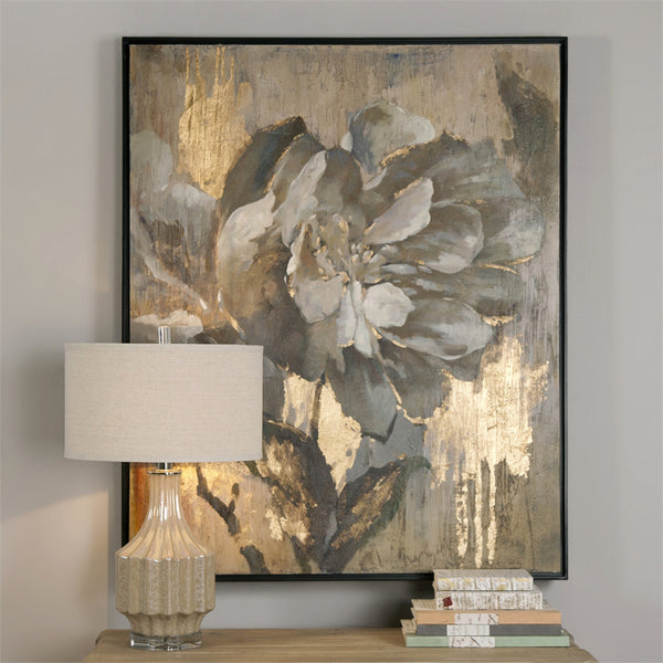 Wall Art - Elegant Flower Artwork With Metallic Gold Highlights