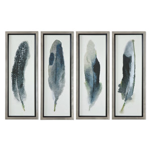 Wall Art - Four Panel Feather Artwork