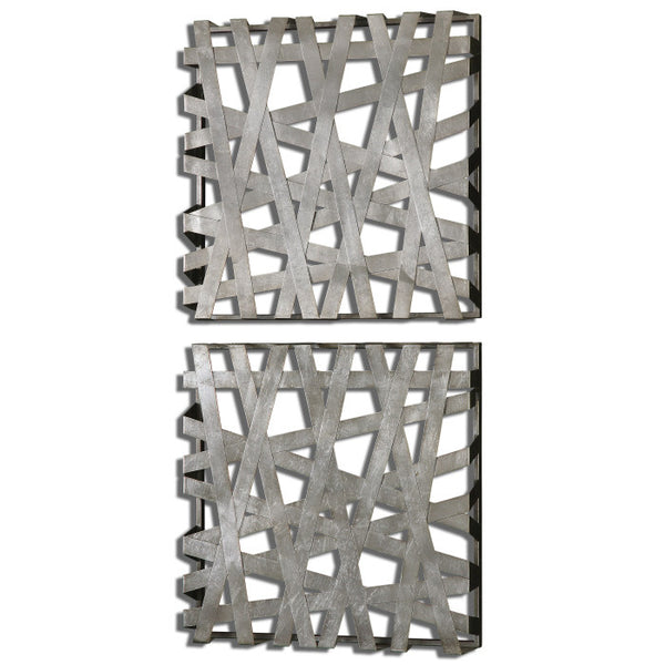 Wall Art - Silver Metal Bands Wall Art - Set Of 2
