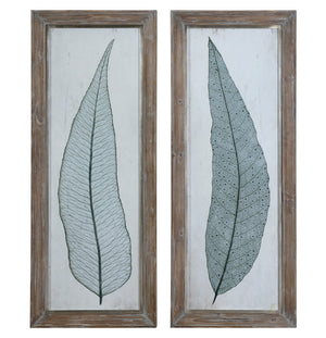 Wall Art - Tall Leaves Wall Art - Set Of 2