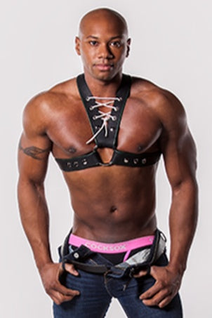 Jock Leather Harness with Lacing