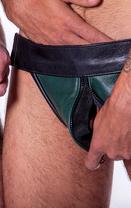 Leather Zip Front Jockstrap
