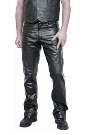 Leather Button Fly Jeans