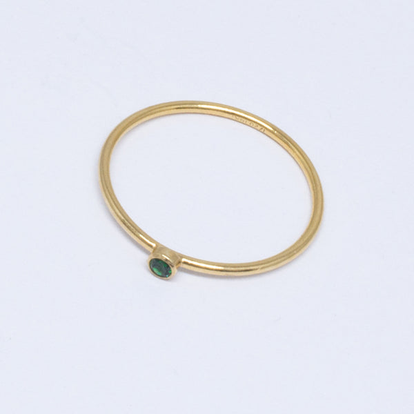 Green Stone Stackable Ring
