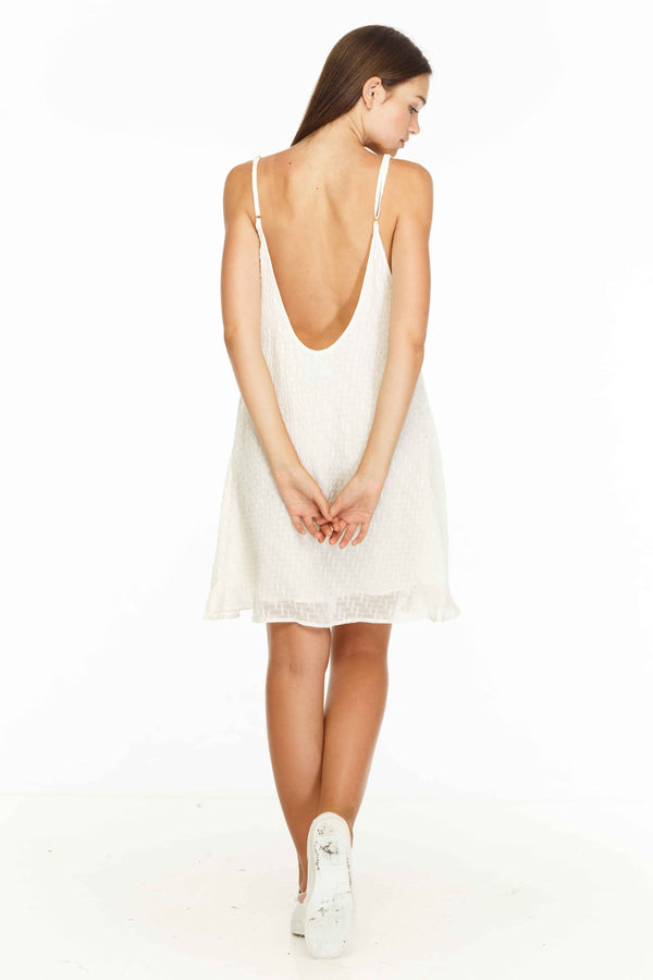 This dress has the perfect mix of cute and sexy. Simplistic A-line mini dress with an exaggerated low back. Available in white and black.