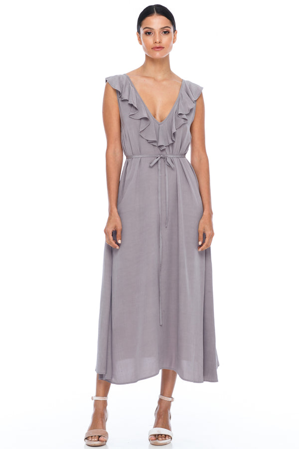 BLAK BRIDESMAIDS - Be Mine Dress - Pewter - Low V neck with ruffle frill neckline front and back. Midi length. Also comes self belt waist tie. Soft Viscose fabric. Image shows front View.