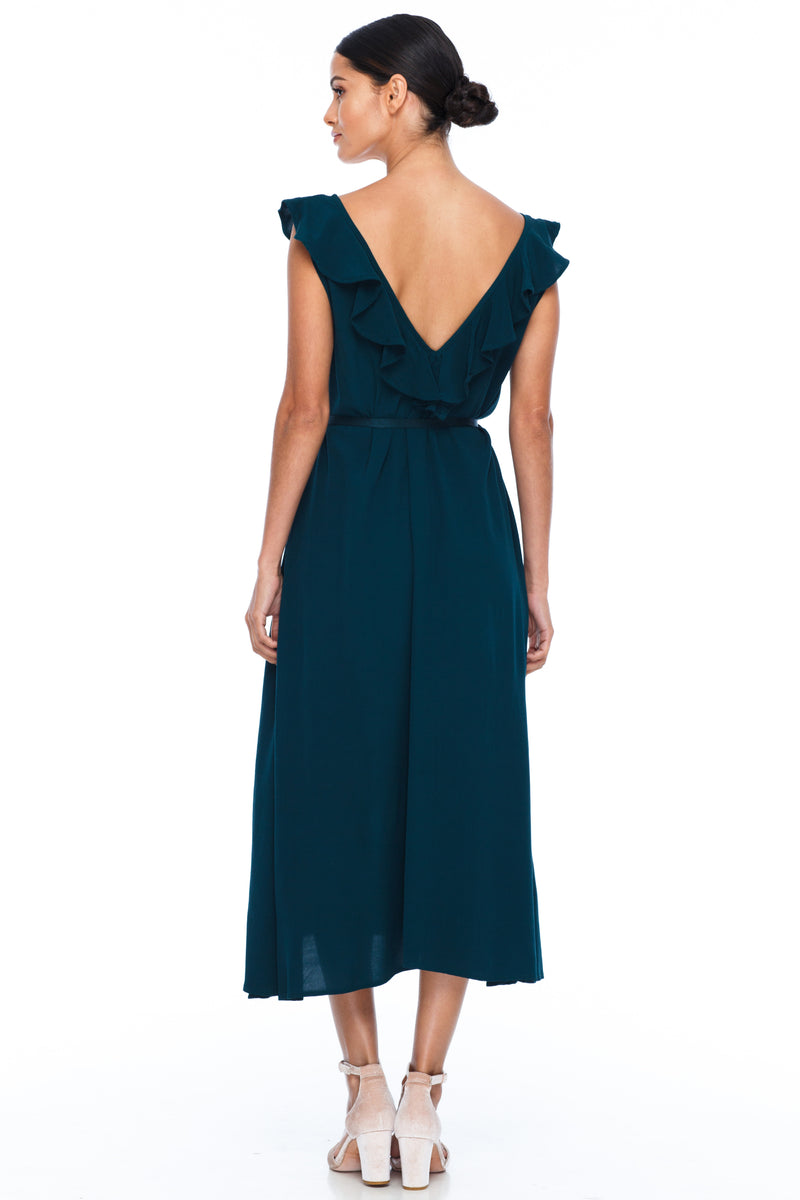 BLAK BRIDESMAIDS - Be Mine Dress - Emerald - Low V neck with ruffle frill neckline front and back. Midi length. Also comes self belt waist tie. Soft Viscose fabric. Image shows back View.