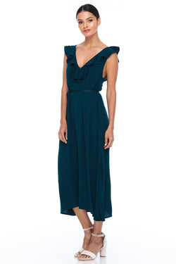 BLAK BRIDESMAIDS - Be Mine Dress - Emerald - Low V neck with ruffle frill neckline front and back. Midi length. Also comes self belt waist tie. Soft Viscose fabric. Image shows front View.