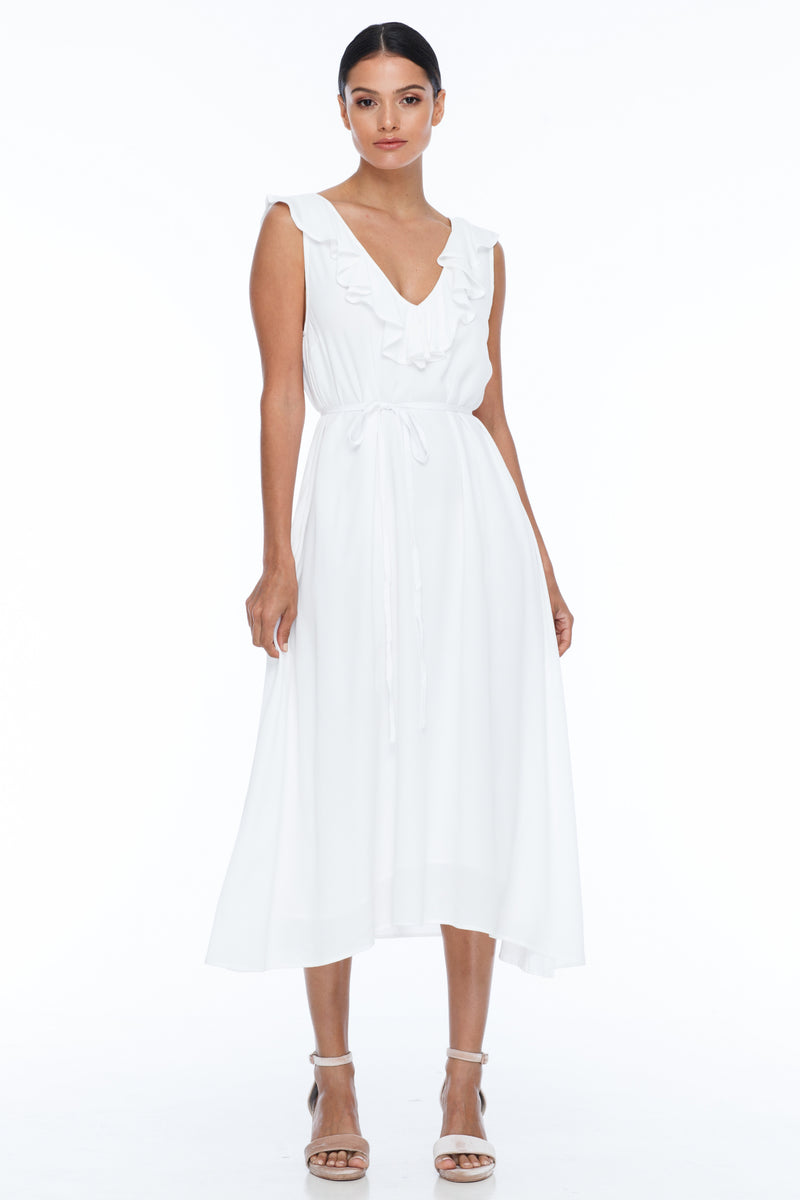 BLAK BRIDESMAIDS - Be Mine Dress - White - Low V neck with ruffle frill neckline front and back. Midi length. Also comes with belt waist tie. Soft Viscose fabric.