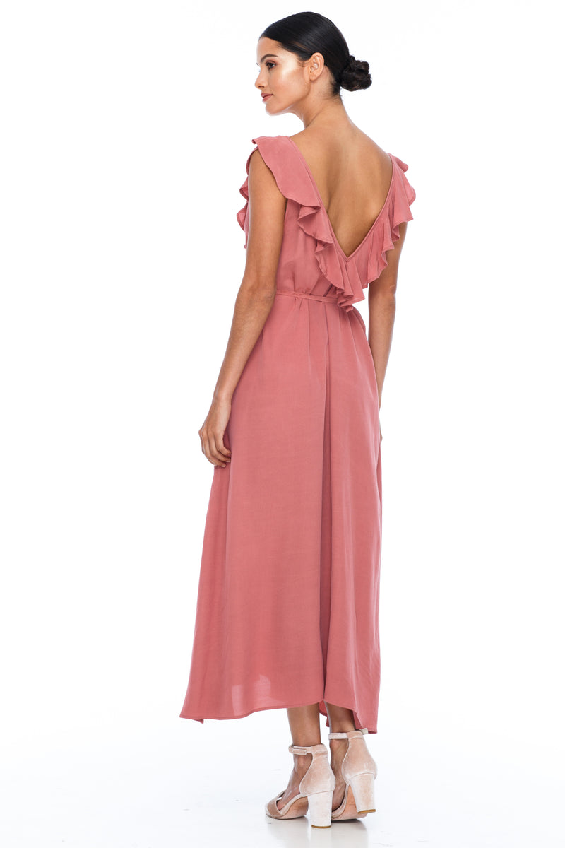 BLAK BRIDESMAIDS - Be Mine Dress - Becca Pink - Low V neck with ruffle frill neckline front and back. Midi length. Also comes self belt waist tie. Soft Viscose fabric. Image shows back view.