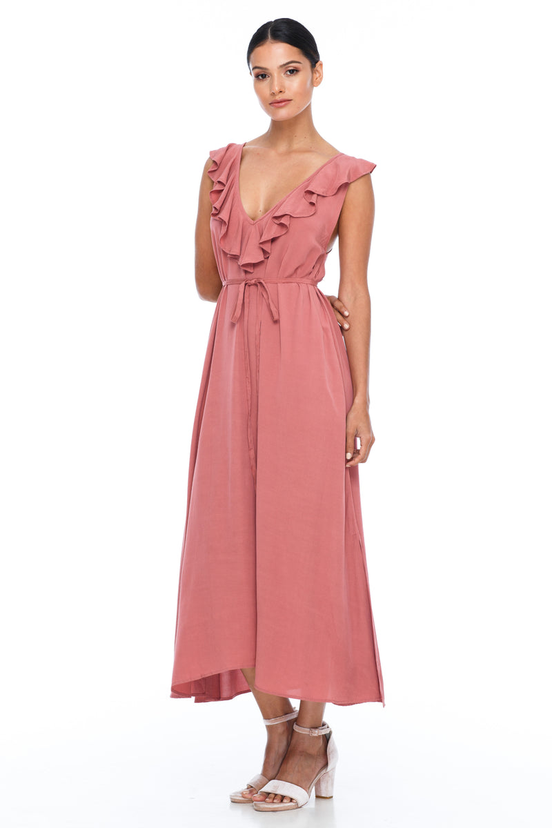 BLAK BRIDESMAIDS - Be Mine Dress - Becca Pink - Low V neck with ruffle frill neckline front and back. Midi length. Also comes self belt waist tie. Soft Viscose fabric. Image shows front View.