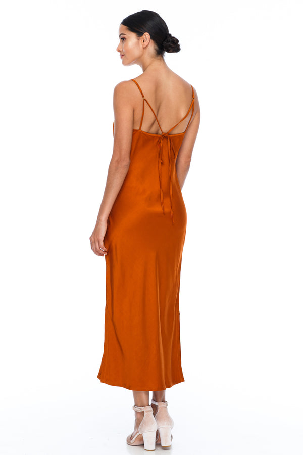 BLAK BRIDESMAIDS -  Cairo Dress - Siesta - Featuring a low v neckline and adjustable thin straps with tie detail in back. A classy chic fitted dress cut on the bias for a slinky fit.  Midi Length / Side Splits / 100% viscose. Image Showing back view