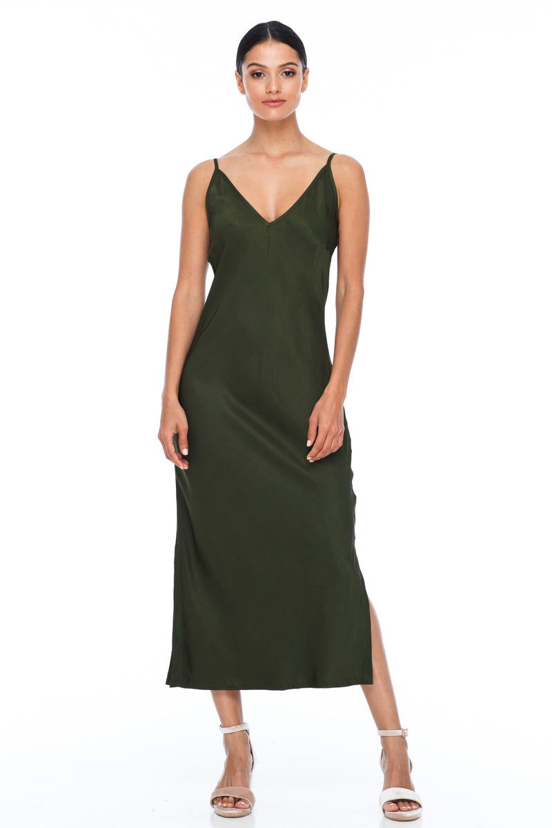 BLAK BRIDESMAIDS -  Cairo Dress - Holland Khaki - Featuring a low v neckline and adjustable thin straps with tie detail in back. A classy chic fitted dress cut on the bias for a slinky fit.  Midi Length / Side Splits / 100% viscose.