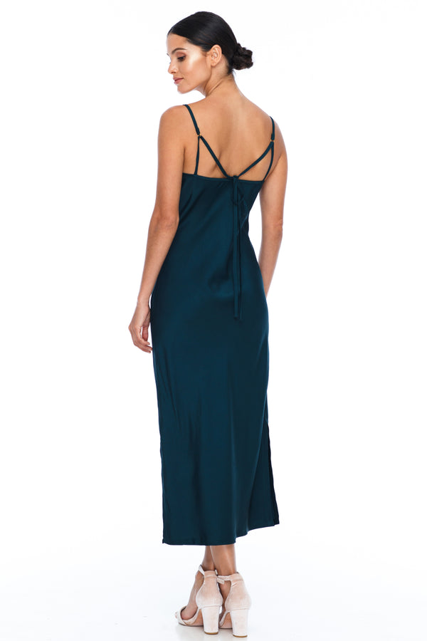 BLAK BRIDESMAIDS -  Cairo Dress - Emerald - Featuring a low v neckline and adjustable thin straps with tie detail in back. A classy chic fitted dress cut on the bias for a slinky fit.  Midi Length / Side Splits / 100% viscose