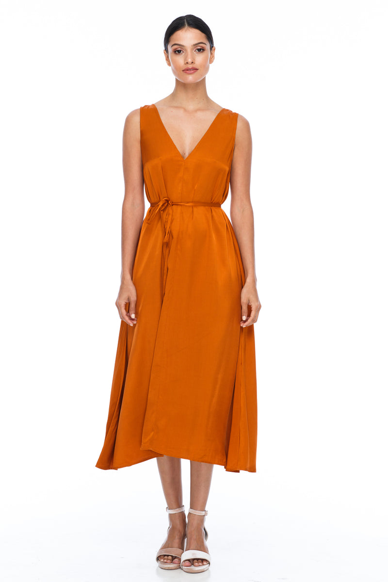 BLAK BRIDESMAIDS -  Calm Dress - Siesta - Featuring a low v-neckline front and back with wider straps. An easy fit dress with self-waist tie.  Midi Length / 100% viscose.