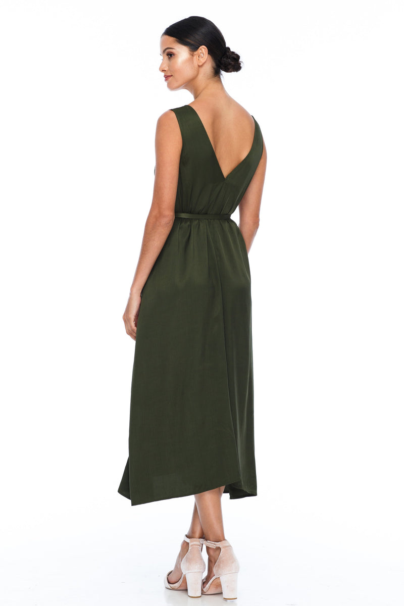 BLAK BRIDESMAIDS -  Calm Dress - Colour - Holland Khaki - Featuring a low v-neckline front and back with wider straps. An easy fit dress with self-waist tie.  Midi Length / 100% viscose.