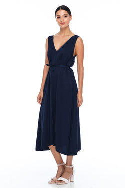 BLAK BRIDESMAIDS -  Calm Dress - Navy - Featuring a low v-neckline front and back with wider straps. An easy fit dress with self-waist tie.  Midi Length / 100% viscose.