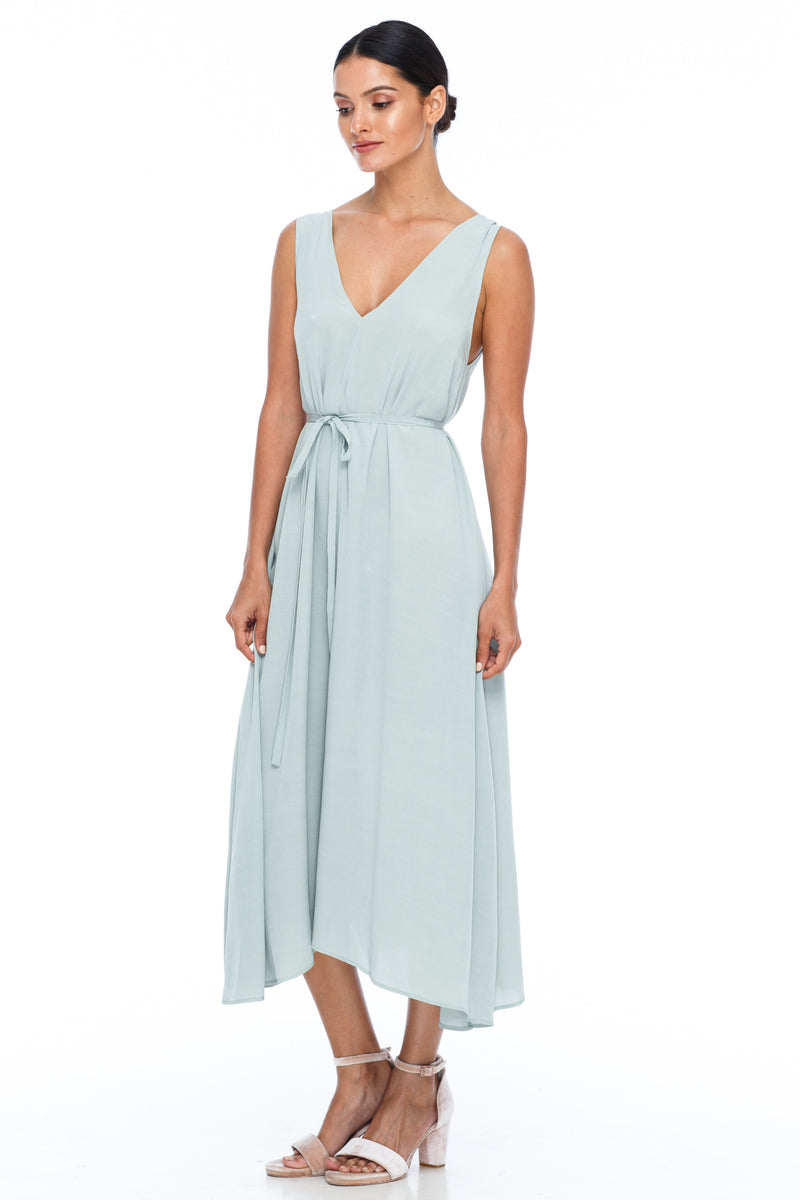 BLAK BRIDESMAIDS -  Calm Dress - Pistachio - Featuring a low v-neckline front and back with wider straps. An easy fit dress with self-waist tie.  Midi Length / 100% viscose.