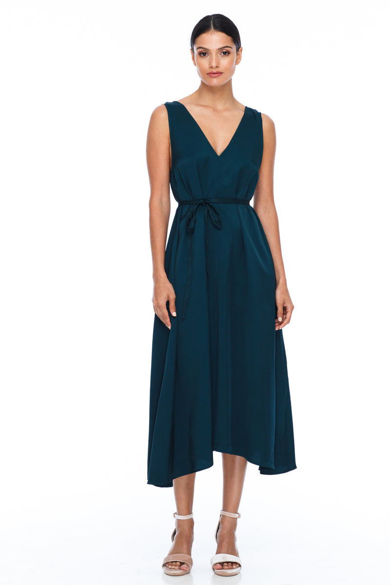 BLAK BRIDESMAIDS -  Calm Dress - Emerald - Featuring a low v-neckline front and back with wider straps. An easy fit dress with self-waist tie.  Midi Length / 100% viscose.