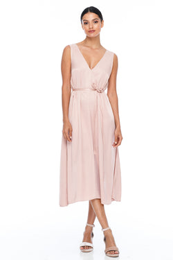 BLAK BRIDESMAIDS -  Calm Dress - Rose - Featuring a low v-neckline front and back with wider straps. An easy fit dress with self-waist tie.  Midi Length / 100% viscose.