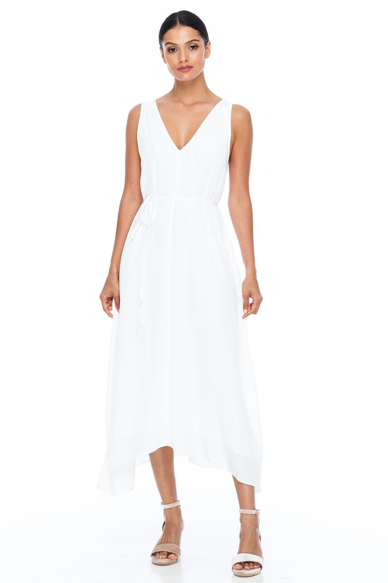 BLAK BRIDESMAIDS -  Calm Dress - white - Featuring a low v-neckline front and back with wider straps. An easy fit dress with self-waist tie.  Midi Length / 100% viscose.