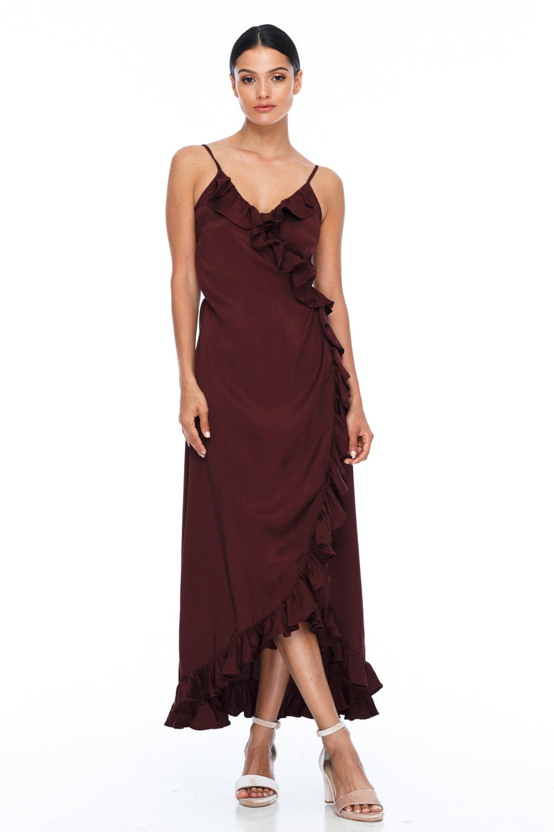 BLAK BRIDESMAIDS – Daisy Dress – Cinnamon -  A beautiful wrap bridesmaid dress with stunning frill detailing all the way around
