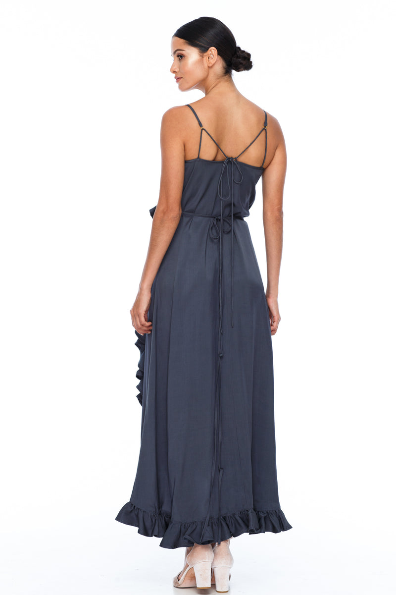 BLAK BRIDESMAIDS   Beautiful wrap bridesmaid dress with stunning frill detailing all the way around. Dainty adjustable back strap/tie. Being a wrap style is it the perfect dress for your bridesmaids who are overseas and cant make it in for a fitting - Stone - Back View