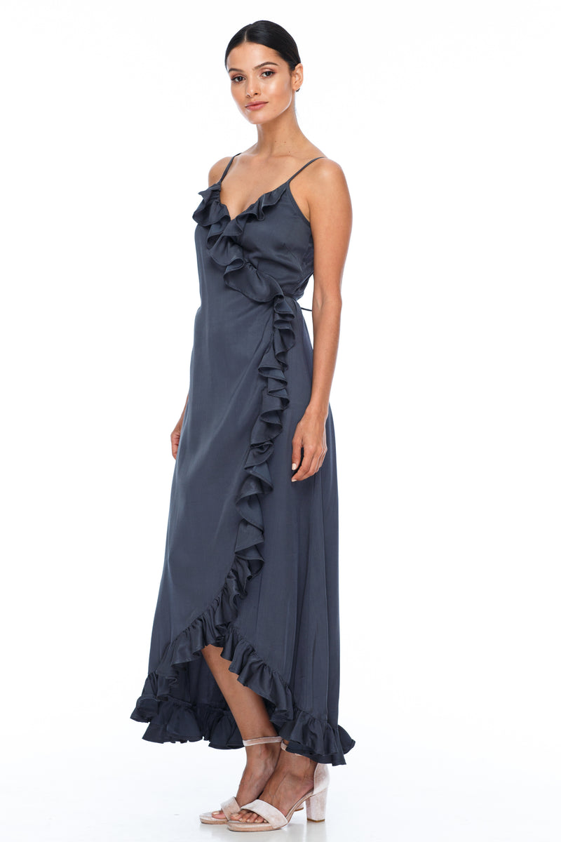 BLAK BRIDESMAIDS   Beautiful wrap bridesmaid dress with stunning frill detailing all the way around. Dainty adjustable back strap/tie. Being a wrap style is it the perfect dress for your bridesmaids who are overseas and cant make it in for a fitting - Stone - Front View