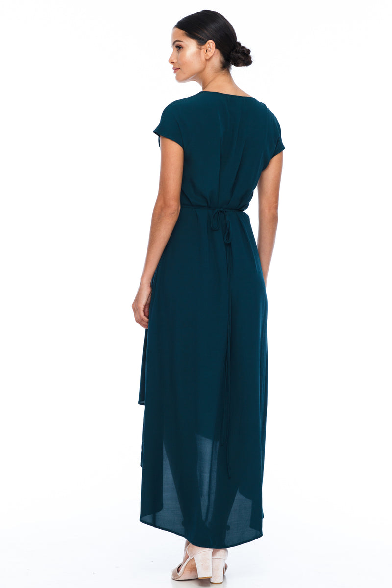 BLAK BRIDESMAIDS - Eternal Dress - Emerald - Chic wrap style dress with small sleeve in midi length - Image shows back view