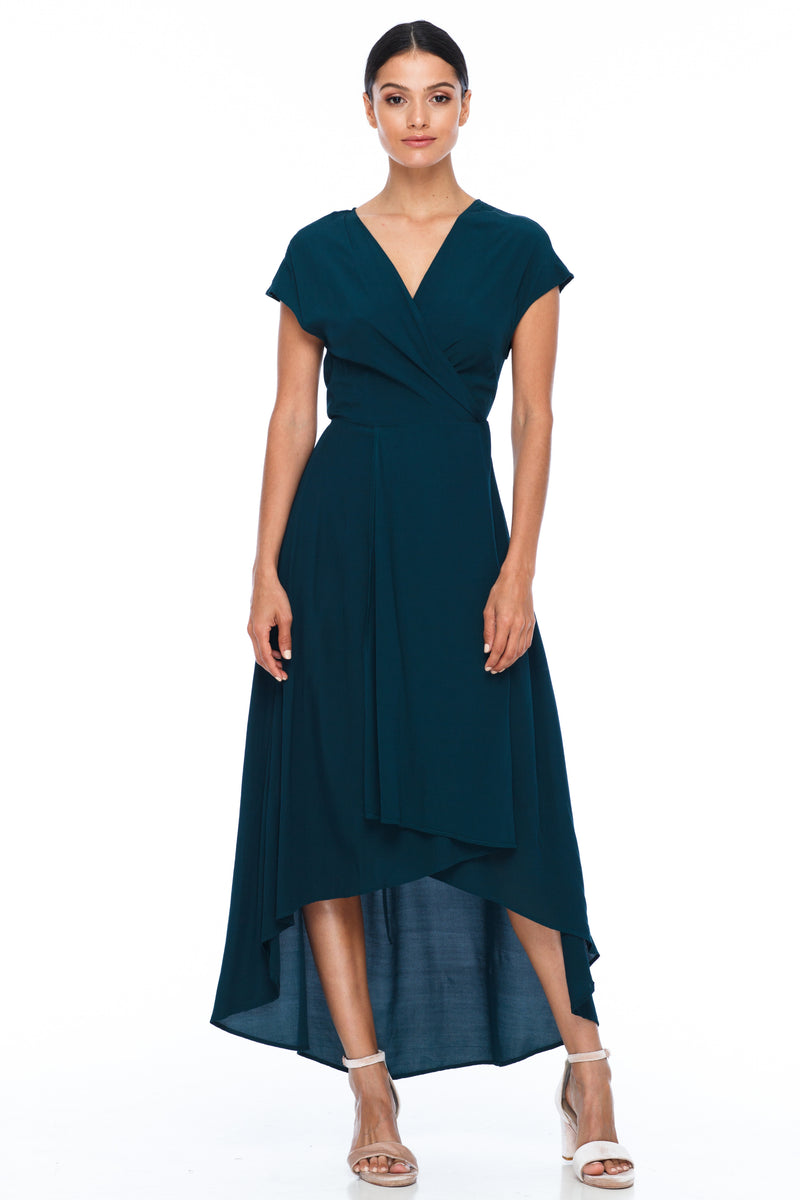 BLAK BRIDESMAIDS - Eternal Dress - Emerald - Chic wrap style dress with small sleeve in midi length - Image shows front view
