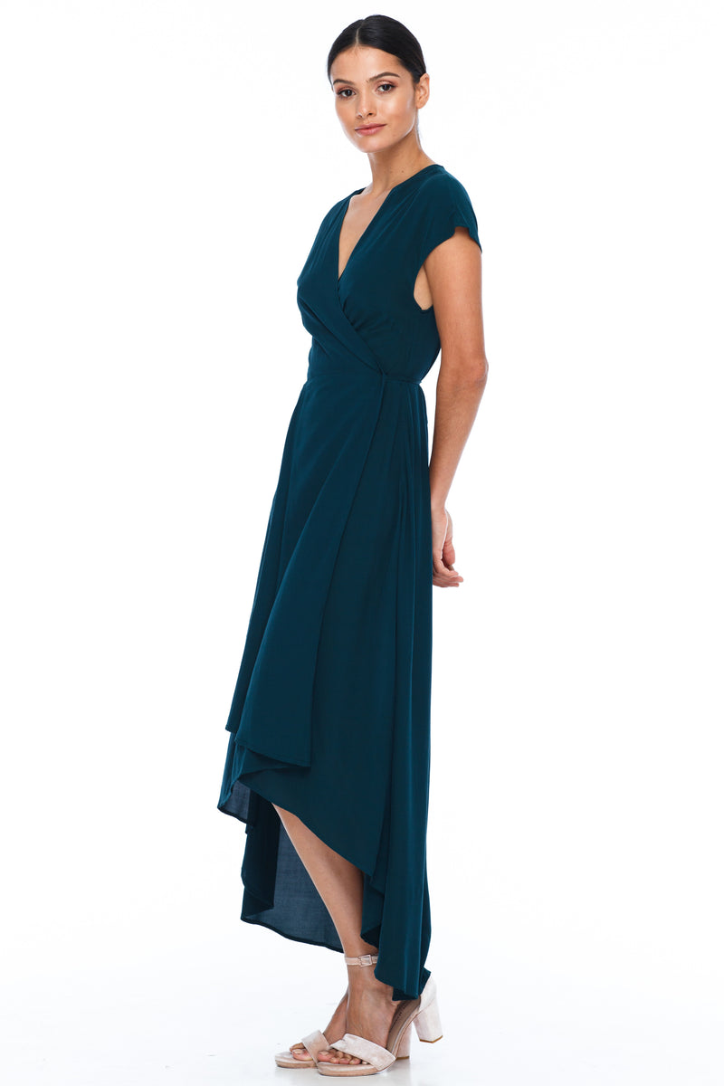 BLAK BRIDESMAIDS - Eternal Dress - Emerald - Chic wrap style dress with small sleeve in midi length - Image shows side view